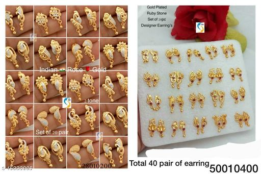 GOLD PLATED RUBY STONE EARRING ND 2 TONE GOLD PLATED EARRING COMBO JEWELLERY