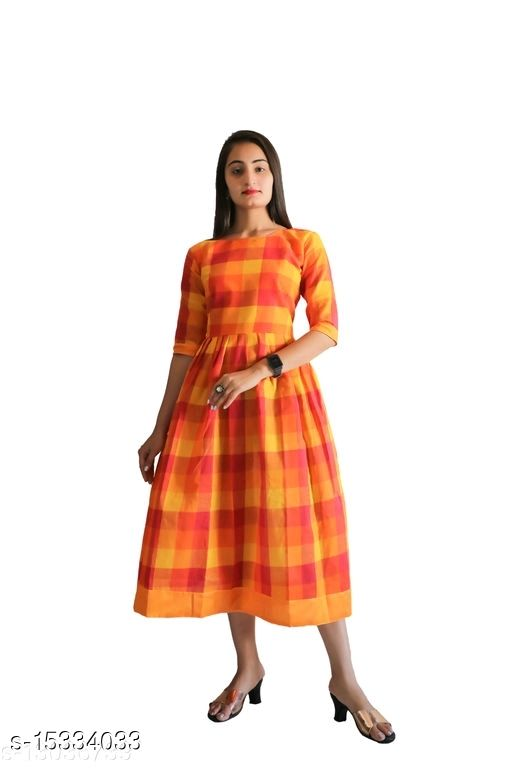 Women Khadi Cotton Anarkali Checked Orange Kurti