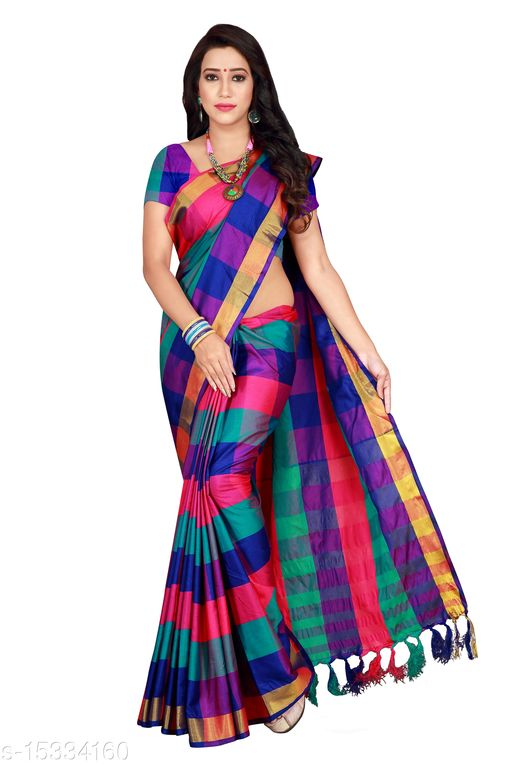 New Cotton Silk Fabric Checkered Saree For Woman's