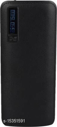 HBNS Smarty Leather 20000mAh Dual USB Port Fast Charging Power Bank(Black)