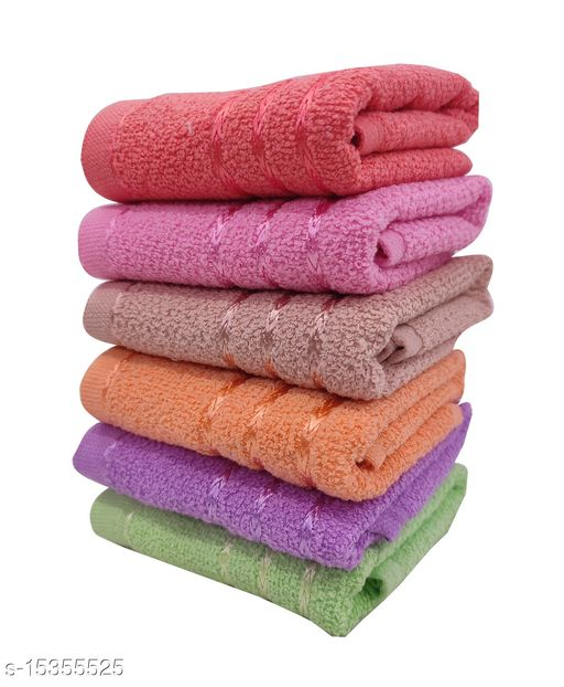 Hand Towels Combo Pack of 6 - Cotton - Size 33x51 CM - Mix Colours - Viscose Border