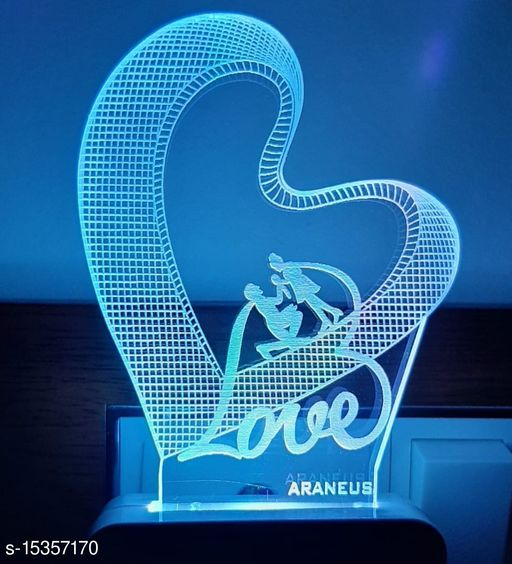 3D STYLISH couple heart Night Lamp with 7 Color Changing Light for Gift,for Bedroom,livingroom pack of 1