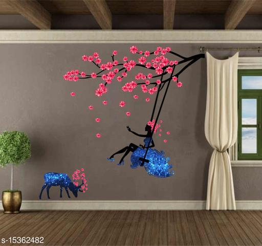 Creatick Studio Fairy Swings on a Flower Branch with Deer ( PVC Vinyl, 86 X 92 )