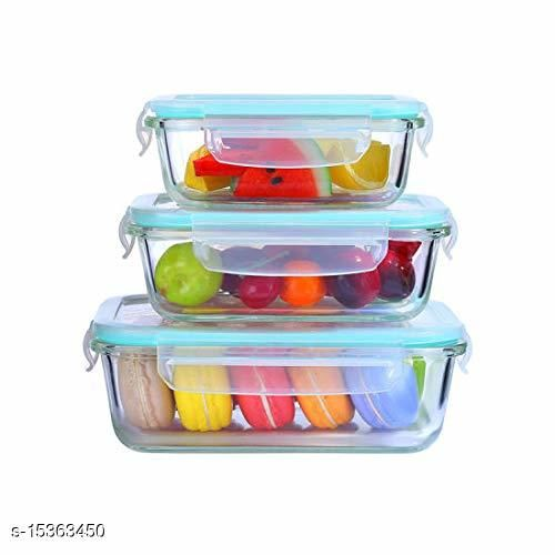 Rectangle Glass Food Storage Containers,Airtight Glass Meal Containers with Lids for Kitchen or Restaurant ( 1000 ML + 650 ML + 360 ML )
