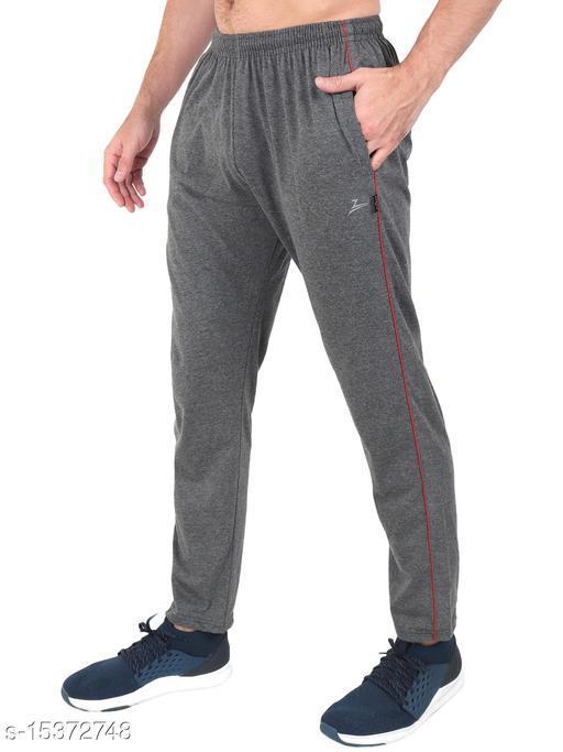 Zeffit Men's Pc Cotton Solid Track Pant-CHARCOAL