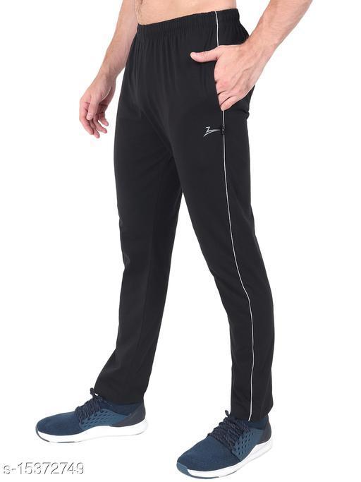 Zeffit Men's Pc Cotton Solid Track Pant-BLACK