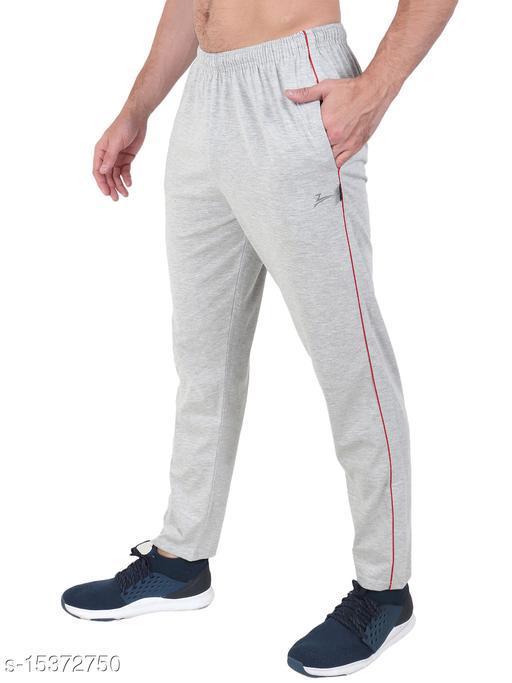 Zeffit Men's Pc Cotton Solid Track Pant-GREY