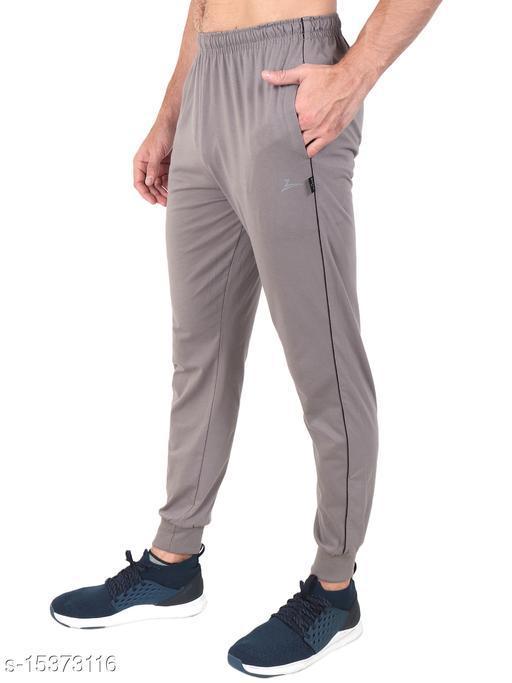 Zeffit Men's Pc Cotton Ankle Grip Track Pant-CEMENT