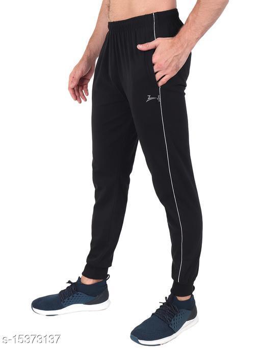 Zeffit Men's Pc Cotton Ankle Grip Track Pant-BLACK