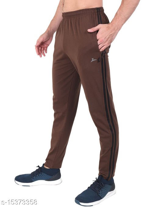Zeffit Men's Pc Cotton Track Pant With Side Tape-COFFEE
