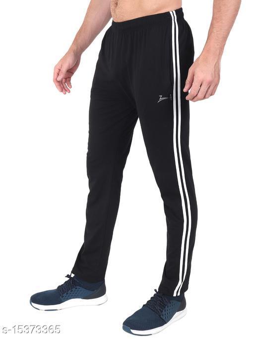 Zeffit Men's Pc Cotton Track Pant With Side Tape-BLACK