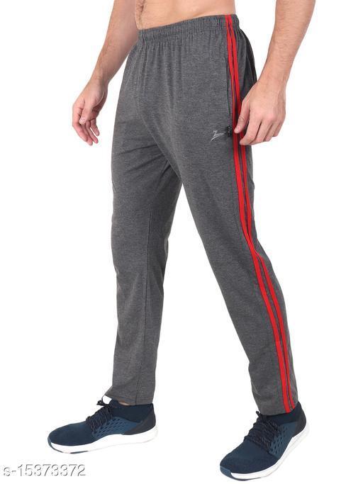 Zeffit Men's Pc Cotton Track Pant With Side Tape-CHARCOAL