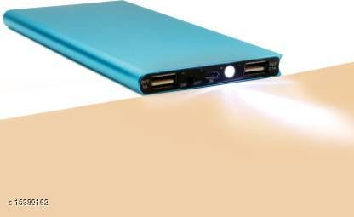 FRYSKA Stylish M87 Slim Metal 10000mAh Dual USB Port With Flash Light Fast Charging Power Bank(Blue)