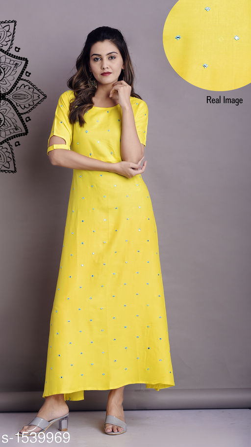 Kurtis & Kurtas Stylish Women's Kurti  *Fabric* Rayon  *Sleeves* Sleeves Are Included  *Size* S - 36 in, M - 38 in, L - 40 in, XL - 42 in, XXL - 44 in, 3XL - 46 in  *Length* Up To 50 in  *Type* Stitched  *Description* It Has 1 Piece Of Long Kurti  *Work* Mirror & Embroidery Work  *Sizes Available* S, M, L, XL, XXL, XXXL   Catalog Rating: ★4 (1515) Supplier Rating: ★4.2 (18869) SKU: Sku-3 Shipping charges: Rs1 (Non-refundable) Pkt. Weight Range: 300  Catalog Name: Nirmali Stylish Womens Kurtis & Kurta Sets Vol 3 - GVS Shoppe Code: 915-1539969--395