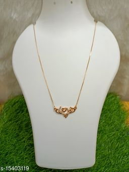 Rose Gold Plated white American Diamond  Necklace Golden Chain Pendant for Women and Girls