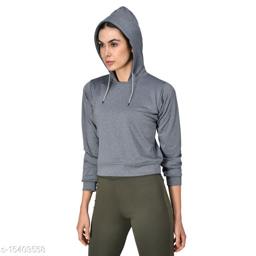 GENSHI  Sports Solid Hooded Crop Sweatshirt
