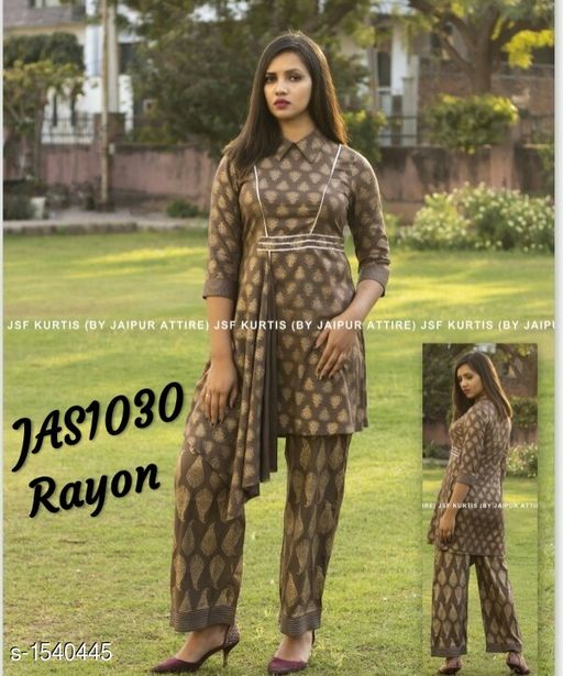 Kurta Sets Women's Printed Rayon Kurta set with Pants  *Fabric* Short Kurti  - Rayon , Bottom - Rayon  *Sleeves* 3/4th Sleeves Are Included  *Size* Short Kurti - M - 38 in, L - 40 in, XL - 42 in,  XXL - 44 , Bottom -  M - 30 in, L - 32 in, XL - 34 in,  XXL - 36 in  *Length* Short Kurti - Up To 34 in,  Bottom - Up To 40 in  *Type* Stitched  *Description* It Has 1 Piece Of Short Kurti  & 1 Piece Of  Bottom  *Pattern * Kurti - Printed , Pattern  *Sizes Available* M, L, XL, XXL *   Catalog Rating: ★4.1 (186)  Catalog Name: Women'S Printed Rayon Kurta Sets CatalogID_200200 C74-SC1003 Code: 374-1540445-