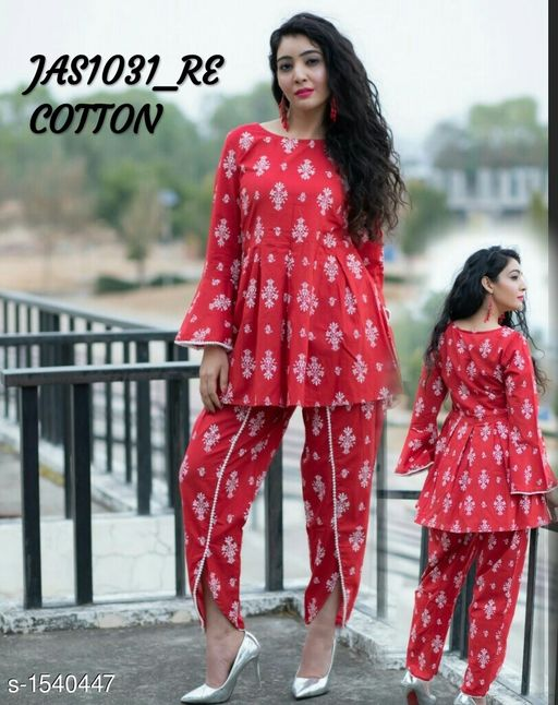 Kurta Sets Women's Printed Rayon Kurta set with Tulip Pants  *Fabric* Short Kurti  - Rayon , Bottom - Rayon  *Sleeves* 3/4th Sleeves Are Included  *Size* Short Kurti - M - 38 in, L - 40 in, XL - 42 in,  XXL - 44 , Bottom -  M - 30 in, L - 32 in, XL - 34 in,  XXL - 36 in  *Length* Short Kurti - Up To 34 in,  Bottom - Up To 40 in  *Type* Stitched  *Description* It Has 1 Piece Of Short Kurti  & 1 Piece Of  Bottom  *Pattern * Kurti - Printed , Pattern  *Sizes Available* M, L, XL, XXL *   Catalog Rating: ★4.1 (186)  Catalog Name: Women'S Printed Rayon Kurta Sets CatalogID_200200 C74-SC1003 Code: 845-1540447-