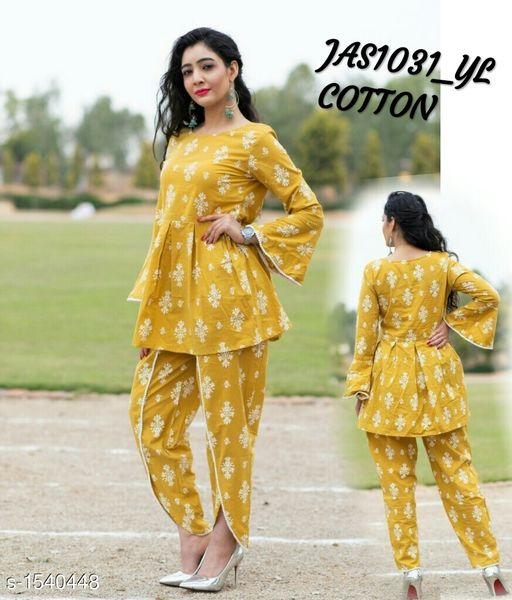 Kurta Sets Women's Printed Rayon Kurta set with Tulip Pants  *Fabric* Short Kurti  - Rayon , Bottom - Rayon  *Sleeves* 3/4th Sleeves Are Included  *Size* Short Kurti - M - 38 in, L - 40 in, XL - 42 in,  XXL - 44 , Bottom -  M - 30 in, L - 32 in, XL - 34 in,  XXL - 36 in  *Length* Short Kurti - Up To 34 in,  Bottom - Up To 40 in  *Type* Stitched  *Description* It Has 1 Piece Of Short Kurti  & 1 Piece Of  Bottom  *Pattern * Kurti - Printed , Pattern  *Sizes Available* M, L, XL, XXL *   Catalog Rating: ★4.1 (186)  Catalog Name: Women'S Printed Rayon Kurta Sets CatalogID_200200 C74-SC1003 Code: 845-1540448-