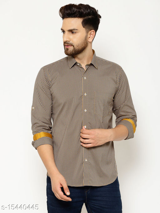 EPPE Men's Cotton Checkered Casual Smart Fit Full Sleeves Shirt