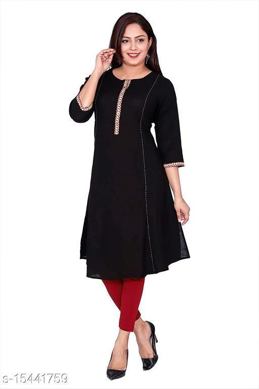 Suti Women's Cotton Kurti, Black
