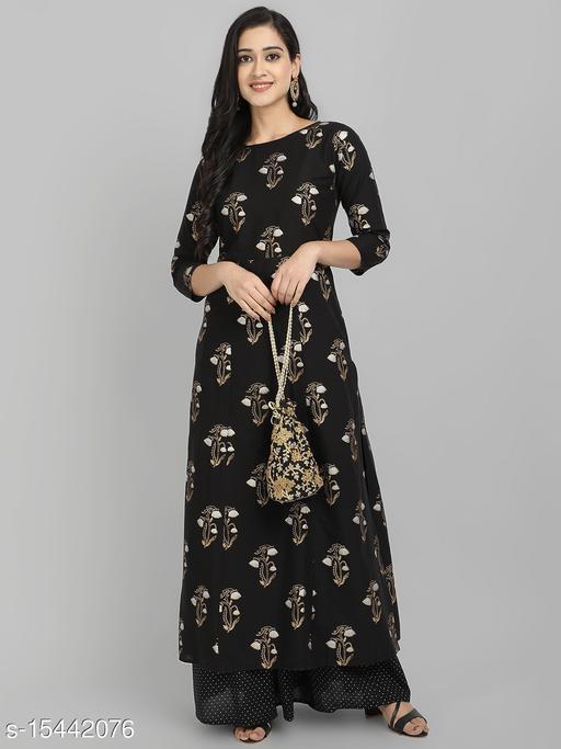 Women's Ethnic Motif Printed Rayon Kurta Set with Skirt