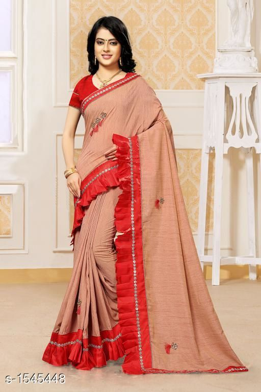Sarees Attractive Silk Frill Stitched Saree  *Fabric* Saree - Silk, Blouse - Banglori Silk  *Size* Saree Length - 5.50 Mtrs, Blouse Length  - 1.0 Mtr  *Work* Frill Stitched  *Sizes Available* Free Size *   Catalog Rating: ★4.5 (30)  Catalog Name: Hiba Attractive Silk Frill Stitched Sarees  CatalogID_200880 C74-SC1004 Code: 5801-1545448-