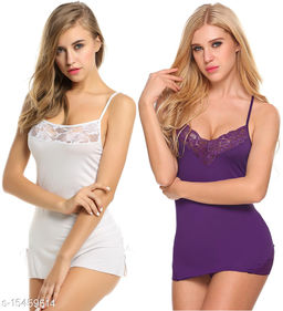 Women's Solid Polyester Babydoll
