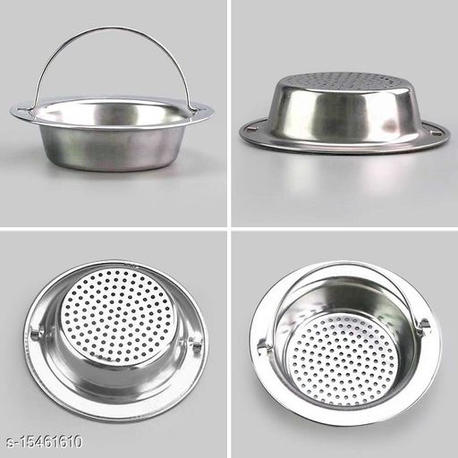 KitchenFest® Stainless Steel Strainer Kitchen Drain Basin Basket Filter Stopper Drainer Sink Jali with Handle, Large Size, [Size- 11 cm Dia.]