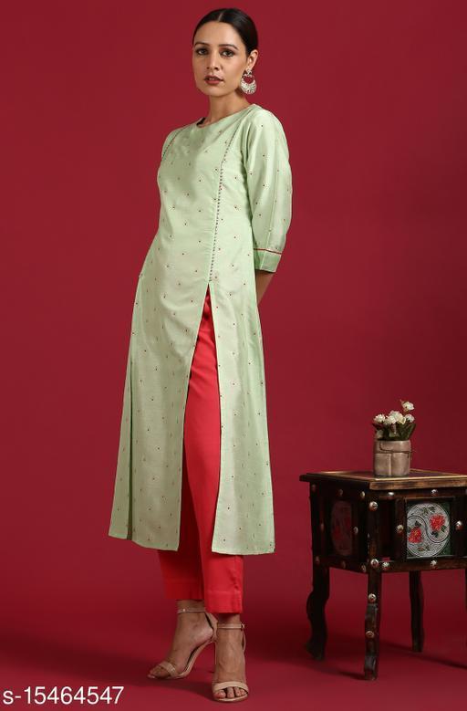 Janasya Women's Light Green Poly Silk Kurta