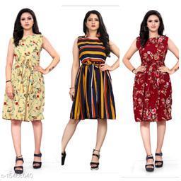 Retro Crepe short Combo Women Dresses