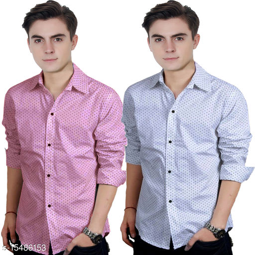 COMBO OF PINK AND WHITE DOTTED SHIRT FOR MEN