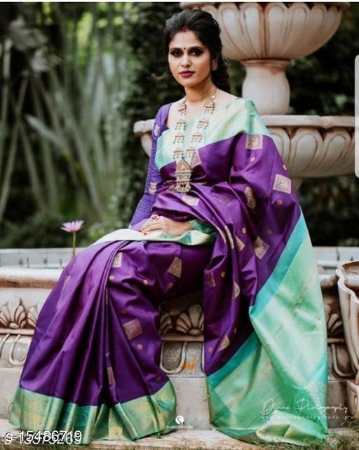 Fantastic Purple Color Lichi Silk Saree