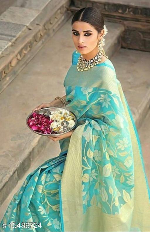 Attractive Sea green Color Jacquard silk Saree