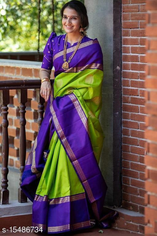 Amazing Green & Blue Color Lichi Silk Saree