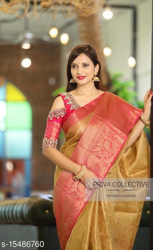 Wedding Purpose Cream & Red Kanchipuram Silk Saree