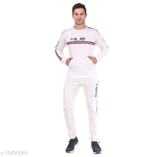 MONK JEANS Dry Fit Kangaroo Pocket Tracksuit for Gym, Yoga and Sports Wear (Color-White)
