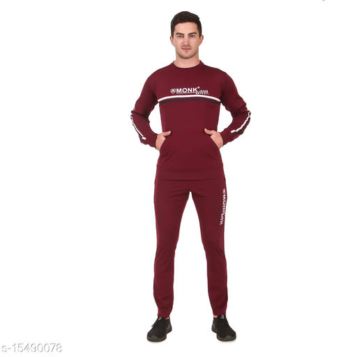 MONK JEANS Dry Fit Kangaroo Pocket Tracksuit for Gym, Yoga and Sports Wear (Color-Maroon)