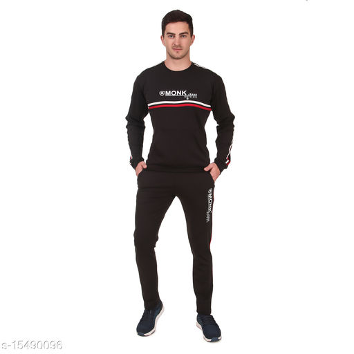 MONK JEANS Dry Fit Kangaroo Pocket Tracksuit for Gym, Yoga and Sports Wear (Color-Black)