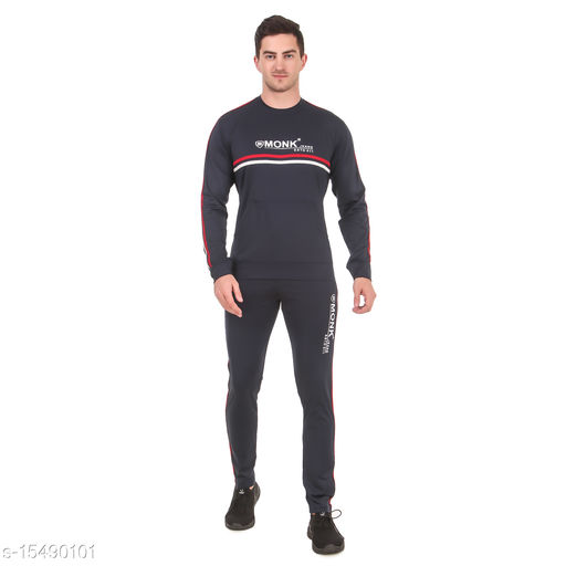 MONK JEANS Dry Fit Kangaroo Pocket Tracksuit for Gym, Yoga and Sports Wear (Color-Navy Blue)