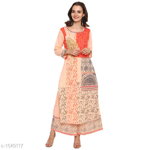 Kurta Sets Pretty Printed Women's Kurta Set  *Catalog Name* *Myhra Pretty Printed Women's Kurta Sets Vol 3*  *Fabric* Kurti - Cotton, Palazzo - Cotton  *Sleeves* Kurti - 3/4 Sleeves Are Included  *Size* Kurti  *Length* Kurti - Up to 46 in, Palazzo - Up to 36 in  *Type* Stitched  *Description* It Has 1 Piece Of Women's Kurti & 1 Piece Of Palazzo  *Work* Kurti - Printed, Palazzo - Printed  *Sizes Available* S, M, L, XL, XXL, XXXL, 4XL, 5XL   Supplier Rating: ★4.3 (52) SKU: SBKPI23012 Free shipping is available for this item. Pkt. Weight Range: 400  Catalog Name: Myhra Pretty Printed Women's Kurta Sets Vol 3 - Sandeep Tiwari Code: 999-1549117--