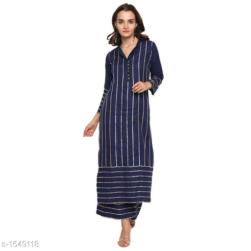 Kurta Sets Pretty Printed Women's Kurta Set  *Catalog Name* *Myhra Pretty Printed Women's Kurta Sets Vol 3*  *Fabric* Kurti - Rayon, Palazzo - Rayon  *Sleeves* Kurti - 3/4 Sleeves Are Included  *Size* Kurti  *Length* Kurti - Up to 46 in, Palazzo - Up to 36 in  *Type* Stitched  *Description* It Has 1 Piece Of Women's Kurti & 1 Piece Of Palazzo  *Pattern* Kurti - Striped, Palazzo - Striped  *Sizes Available* S, M, L, XL, XXL, XXXL, 4XL, 5XL   Supplier Rating: ★4.3 (52) SKU: SBKPI23013 Free shipping is available for this item. Pkt. Weight Range: 400  Catalog Name: Myhra Pretty Printed Women's Kurta Sets Vol 3 - Sandeep Tiwari Code: 9601-1549118--