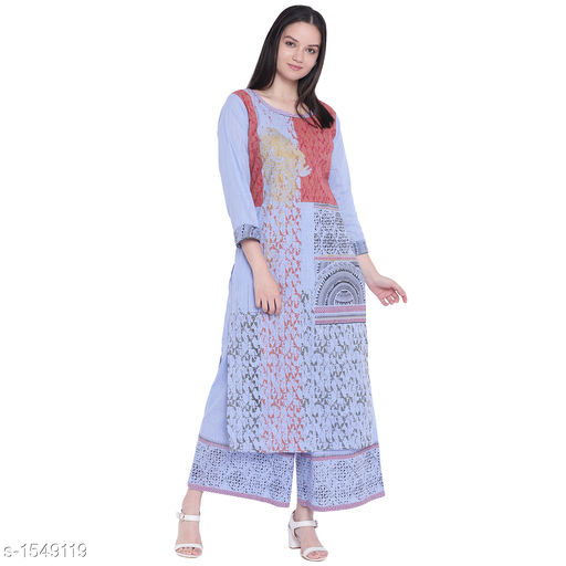 Kurta Sets Pretty Printed Women's Kurta Set  *Catalog Name* *Myhra Pretty Printed Women's Kurta Sets Vol 3*  *Fabric* Kurti - Cotton, Palazzo - Cotton  *Sleeves* Kurti - 3/4 Sleeves Are Included  *Size* Kurti  *Length* Kurti - Up to 46 in, Palazzo - Up to 36 in  *Type* Stitched  *Description* It Has 1 Piece Of Women's Kurti & 1 Piece Of Palazzo  *Work* Kurti - Printed, Palazzo - Printed  *Sizes Available* S, M, L, XL, XXL, XXXL, 4XL, 5XL   Supplier Rating: ★4.3 (52) SKU: SBKPI23016 Free shipping is available for this item. Pkt. Weight Range: 400  Catalog Name: Myhra Pretty Printed Women's Kurta Sets Vol 3 - Sandeep Tiwari Code: 999-1549119--