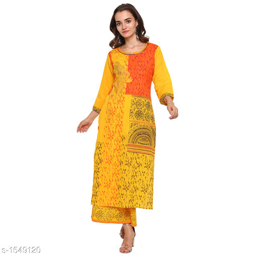 Kurta Sets Pretty Printed Women's Kurta Set  *Catalog Name* *Myhra Pretty Printed Women's Kurta Sets Vol 3*  *Fabric* Kurti - Cotton, Palazzo - Cotton  *Sleeves* Kurti - 3/4 Sleeves Are Included  *Size* Kurti  *Length* Kurti - Up to 46 in, Palazzo - Up to 36 in  *Type* Stitched  *Description* It Has 1 Piece Of Women's Kurti & 1 Piece Of Palazzo  *Work* Kurti - Printed, Palazzo - Printed  *Sizes Available* S, M, L, XL, XXL, XXXL, 4XL, 5XL   Supplier Rating: ★4.3 (52) SKU: SBKPI23019 Free shipping is available for this item. Pkt. Weight Range: 400  Catalog Name: Myhra Pretty Printed Women's Kurta Sets Vol 3 - Sandeep Tiwari Code: 999-1549120--