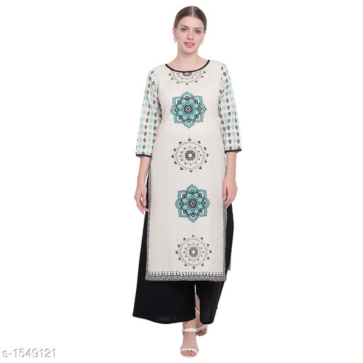 Kurta Sets Pretty Printed Women's Kurta Set  *Catalog Name* *Myhra Pretty Printed Women's Kurta Sets Vol 3*  *Fabric* Kurti - Cotton, Palazzo - Cotton  *Sleeves* Kurti - 3/4 Sleeves Are Included  *Size* Kurti  *Length* Kurti - Up to 46 in, Palazzo - Up to 36 in  *Type* Stitched  *Description* It Has 1 Piece Of Women's Kurti & 1 Piece Of Palazzo    *Work * Kurti - Printed, Palazzo - Solid  *Sizes Available* S, M, L, XL, XXL, XXXL, 4XL, 5XL   Supplier Rating: ★4.3 (52) SKU: SBKPI23021 Free shipping is available for this item. Pkt. Weight Range: 400  Catalog Name: Myhra Pretty Printed Women's Kurta Sets Vol 3 - Sandeep Tiwari Code: 969-1549121--