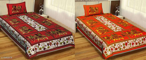 Jaipuri Single Bed Bedsheet Combo Pack 2 Single size cotton bedsheet with 2 Pillow Cover
