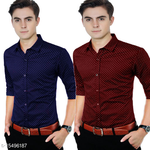 COMBO OF NAVY AND MAROON DOTTED SHIRT FOR MEN