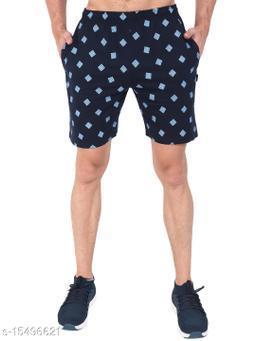 Zeffit Men Pc Cotton Printed Bermuda Shorts-NAVY