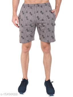 Zeffit Men Pc Cotton Printed Bermuda Shorts-CEMENT