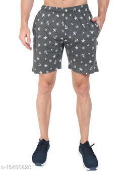 Zeffit Men Pc Cotton Printed Bermuda Shorts-CHARCOAL
